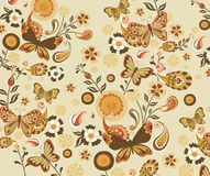 Het bloemen en Patroon van de Vlinder Royalty-vrije Stock Foto's