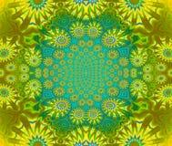 Het bloemen groene turkoois van de ornament gele olijf Stock Foto