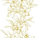 Het bloemen naadloze patroon met getrokken hand bloeit Gele narcissen royalty-vrije illustratie