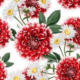 Het bloemen naadloze patroon met hand getrokken rode dahlia's en kamille bloeit met bladeren royalty-vrije stock afbeeldingen