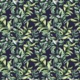 Het bloemen naadloze patroon van de waterverfwinter De hand schilderde snowberry tak met witte die bes op blauwe achtergrond word royalty-vrije illustratie