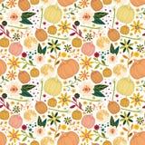Het bloemen naadloze patroon van Halloween Kleurrijke vectorachtergrond met pompoenen stock afbeeldingen