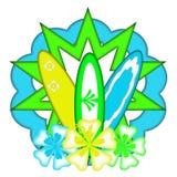 Het bloemen Ontwerp van het Embleem van de Branding van de Surfplank Stock Afbeeldingen