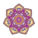 Het bloemen ronde motief van krabbelboho Vector illustratie Royalty-vrije Stock Fotografie