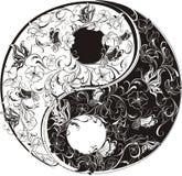 Het bloemen symbool van Yin Yang Stock Foto's