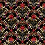 Het bloemen uitstekende naadloze patroon van liefdeharten Vectordamast backg Royalty-vrije Stock Afbeeldingen