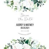 Het bloemen vectorbannerkader met wit nam, hydrangea hortensia, eucalyptus, smaragd en muntgroen toe stock illustratie
