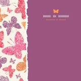Het bloemen verticale naadloze patroon van het vlinderskader Stock Afbeelding