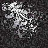 Het bloemen zilveren ontwerpelement op zwarte wervelt patroon Royalty-vrije Stock Foto