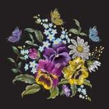 Het bloemenboeket van de borduurwerktendens met pansies, kamilles en voor Stock Afbeelding