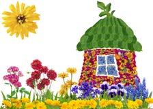 Het bloemenconcept van het ecohuis Stock Afbeelding