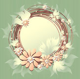 Het bloemenframe van Scrapbooking met bloemenparels Stock Afbeeldingen