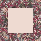 Het bloemenkader van het krabbel etnische patroon Royalty-vrije Stock Foto
