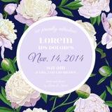 Het bloemenmalplaatje van de huwelijksuitnodiging Sparen de Datumkaart met Bloeiende Witte Pioenbloemen De uitstekende Botanische stock illustratie