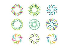 Het bloemenmalplaatje van het cirkelembleem, Reeks van rond abstract het patroon vectorontwerp van de oneindigheidsbloem Stock Foto