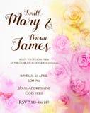 Het bloemenmalplaatje van het uitnodigingshuwelijk Royalty-vrije Stock Fotografie