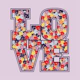 Het bloemenontwerp van de liefdedruk royalty-vrije illustratie