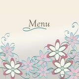 Het bloemenontwerp van het Restaurantmenu. De Dekking van het bloempatroon Stock Afbeelding