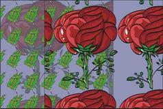 Het bloemenpatroon herhaalt bloemknop op een stamrozen Stock Fotografie