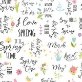 Het bloemenpatroon met de lenteelementen van bloeibloemen citeert Naadloze achtergrond voor stoffenontwerp in vector vector illustratie
