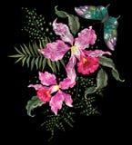 Het bloemenpatroon van de borduurwerk brigt tendens met orchideeën en vlinder Stock Afbeelding