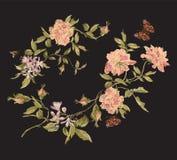 Het bloemenpatroon van de borduurwerkmanier met pioenen en vlinder Royalty-vrije Stock Afbeeldingen