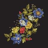Het bloemenpatroon van de borduurwerkmanier met wilde rozen Royalty-vrije Stock Foto's