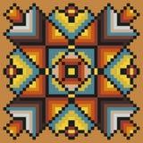 Het bloemenpatroon van de pixelkunst in warme kleuren op een lichtbruine achtergrond Stock Afbeelding