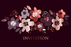 Het bloemenpatroon van het luxeconcept met geometrische textuur Royalty-vrije Stock Foto's