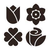 Het bloempictogram plaatste - tulp, narcissen, klaver en nam toe royalty-vrije illustratie