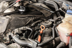 Het blok automobiele motor van de close-upmotor royalty-vrije stock afbeeldingen