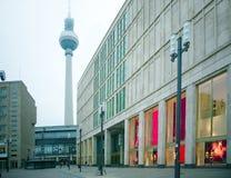 Het blok en Fernsehturm van Berlijn stock afbeelding