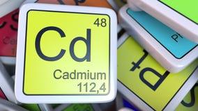 Het blok van cadmiumcd op de stapel van periodieke lijst van de chemische elementenblokken De chemie bracht het 3D teruggeven met Stock Afbeeldingen