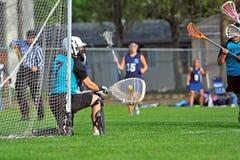 Het blok van de lacrosse goalie Royalty-vrije Stock Afbeeldingen