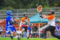 Het Blok van Goalie van de lacrosse Royalty-vrije Stock Foto