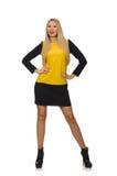 Het blonde haarmeisje in gele en zwarte kleding Stock Foto's
