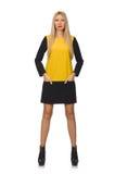Het blonde haarmeisje in gele en zwarte kleding Stock Foto