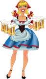 Het blonde meisje van oktober fest met bier royalty-vrije stock foto
