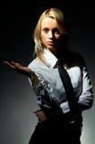 Het blonde model stelt Stock Fotografie