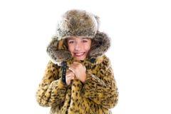 Het blonde van de het meisjes koude vorst van het de winterjonge geitje gebaar en het bont Stock Afbeeldingen