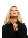Het blonde vrouw bidden Stock Afbeelding