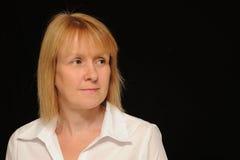 Het blonde vrouw denken Stock Foto