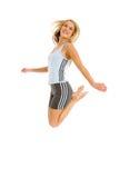Het blonde vrouw springen Royalty-vrije Stock Afbeelding