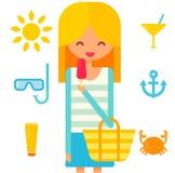 Het blondemeisje eet roze roomijs De zomervector Stock Foto's