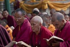 Het boeddhistische Bidden van Monniken Stock Foto's