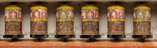 Het boeddhistische wiel van het Meditatiegebed in Katmandu, Swoyamb Royalty-vrije Stock Fotografie