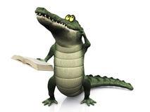Het boek dat van de de krokodillezing van het beeldverhaal zijn hoofd krast Royalty-vrije Stock Foto
