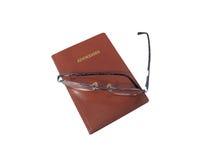 Het boek en de bril van het adres Stock Fotografie