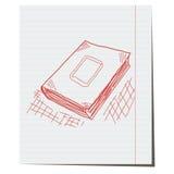 Het boek is hand-drawn op notitieboekjeblad Stock Afbeeldingen