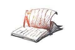 Het boek, lezing, bibliotheek, las concept Hand getrokken geïsoleerde vector Royalty-vrije Stock Afbeeldingen